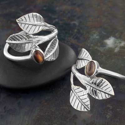 Tri Leaf and Stone Ring