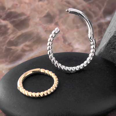 14k Gold Braided Clicker Ring