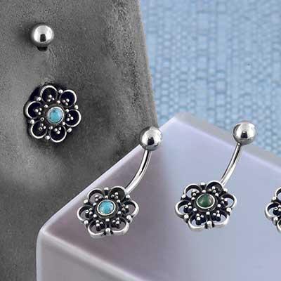 Sterling Silver Floral Mandala Navel