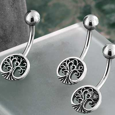 Sterling Silver Tree of Life Navel