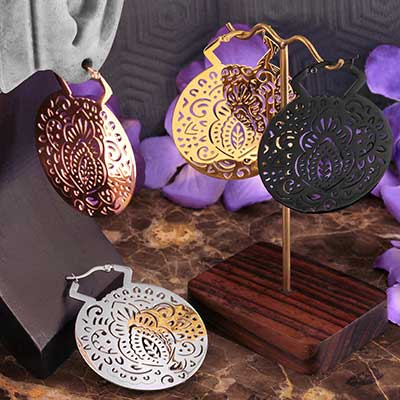 Mehndi Hoop Earrings