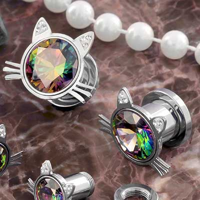 Iridescent Kitty Gem Plugs