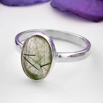 Green Tourmalated Quartz Ring