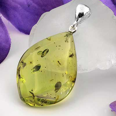 Silver and Green Amber Pendant