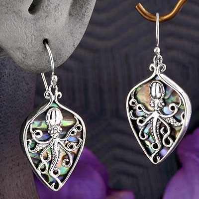 Silver and Abalone Shell Octopus Earrings