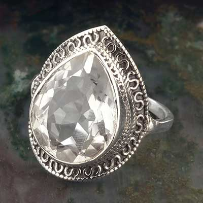 Crystal Teardrop Ring