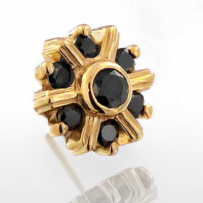 14k Gold Maya Threadless End (All Black CZ)