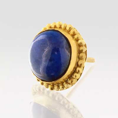 14k Gold Round Threadless End with Lapis