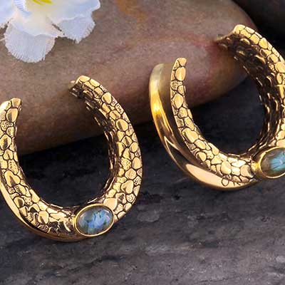 Textured Brass Saddles with Labradorite