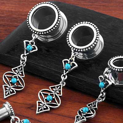 Antique Dangle Eyelets with Turquoise