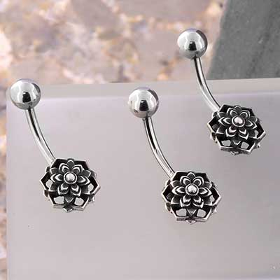 Sterling Silver Blooming Lotus Navel