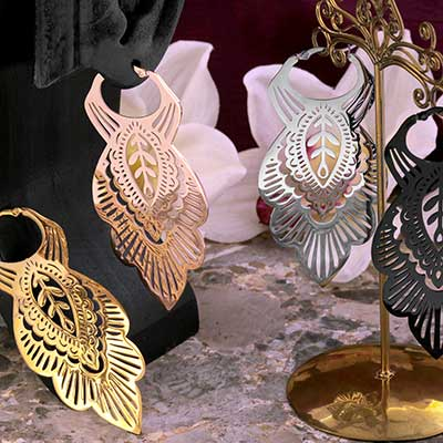 Mandala Leaf Hoop Earrings