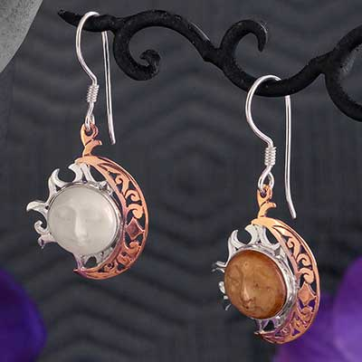Bone Moon and Sun Earrings