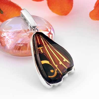 Butterfly Wing Amber Pendant