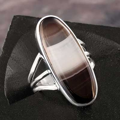 Banded Black Agate Ring