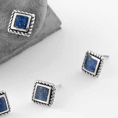 Square Lapis Stud Earrings