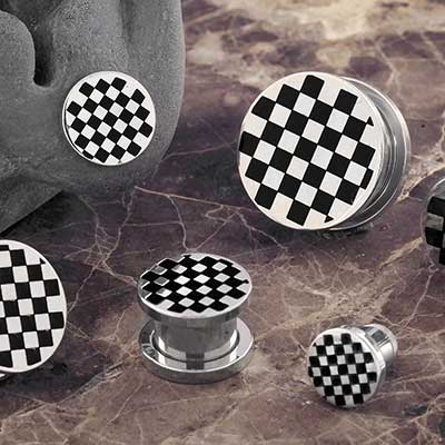 Checkered Steel Plugs