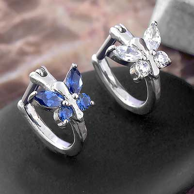 Butterfly Side Set Gem Clicker Ring