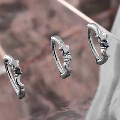 Moon and Star Side Set Gem Clicker Ring