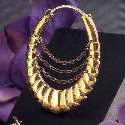 Brass Lilith Hoops with Chains