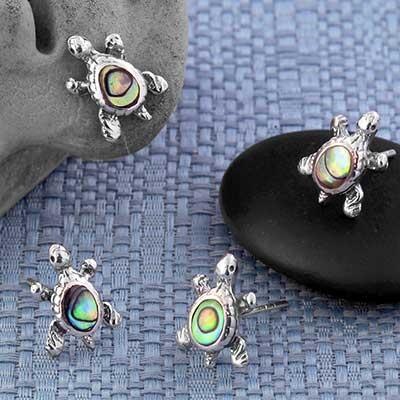 Abalone Turtle Stud Earrings