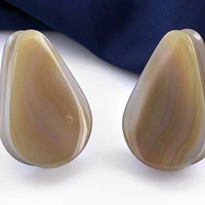 Brazilian Agate Teardrop Plugs