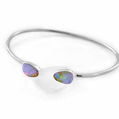 Sterling Silver and Light Blue Opal Bracelet