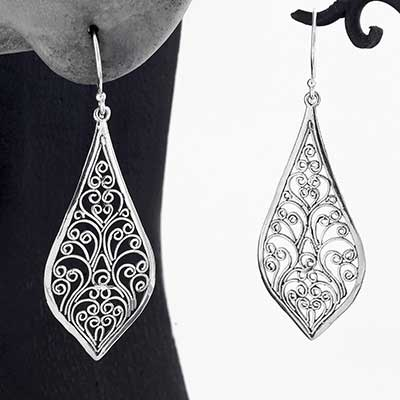 Silver Fountain of Life Earrings