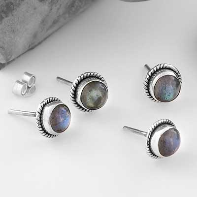 Round Labradorite Stud Earrings