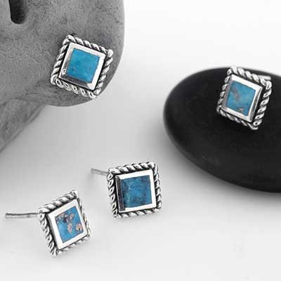 Square Turquoise Stud Earrings