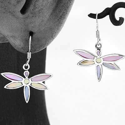 Pastel Shell Dragonfly Earrings