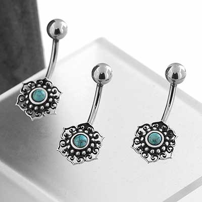 Sacred Flower Navel with Turquoise