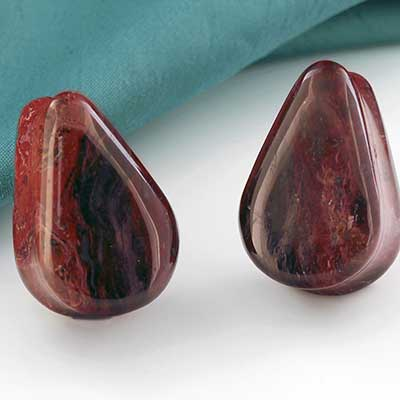 Red and Black Plume Agate Teardrop Plugs