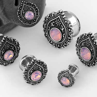 Pink Opalite Teardrop Filigree Plugs