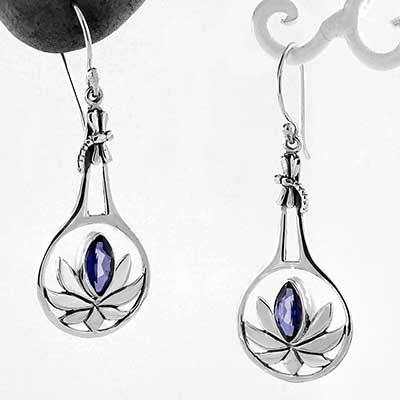 Lotus Earrings with Tanzanite
