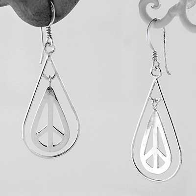 Teardrop Peace Sign Dangle Earrings