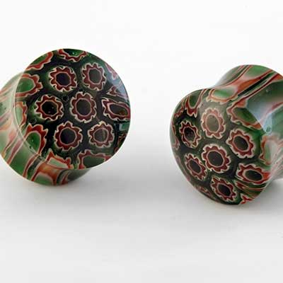 Millefiori Glass Plugs