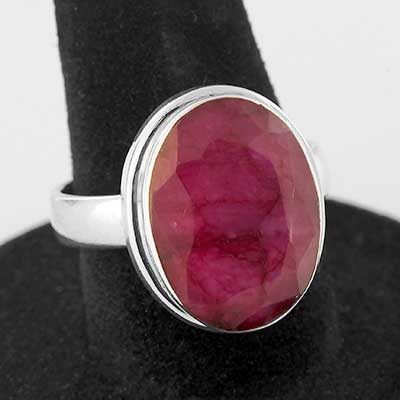 Silver and Faceted Ruby Ring