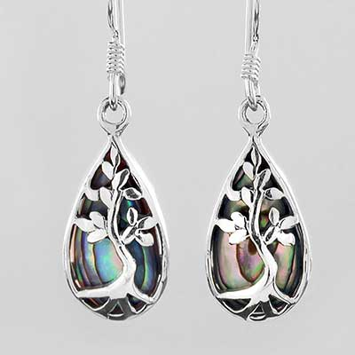 Tree and Abalone Dangle Earrings