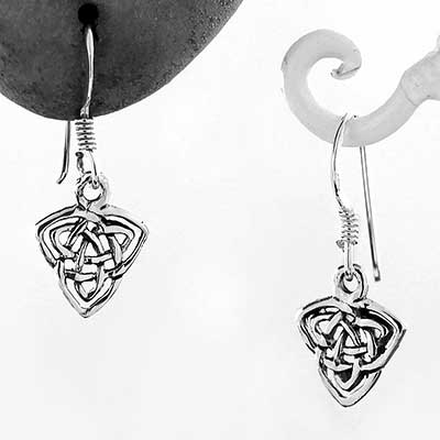 Silver Celtic Double Triquetra Dangle Earrings