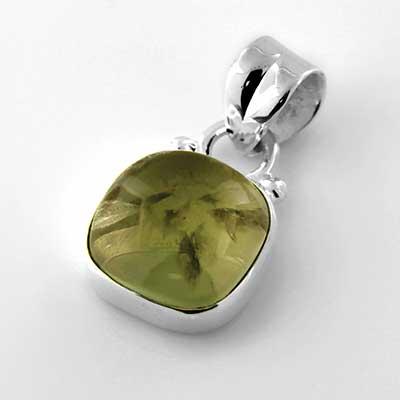 Silver and Prehnite Stone Pendant