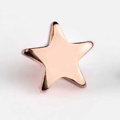 18k Rose Gold Star Internally Threaded End