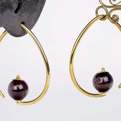 Brass Tear Dew Drop Design with Red Garnet