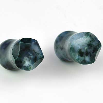 Crowned Moss Agate Plugs