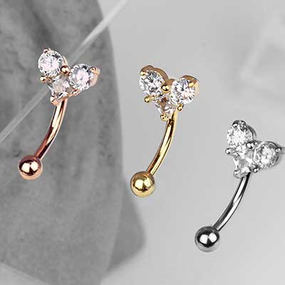 Triple Gem Heart Curved Barbell