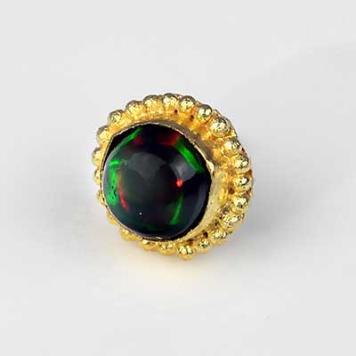 14k Gold Round Threadless End with Ethiopian Black Opal