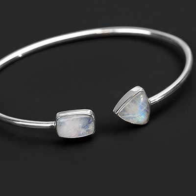 Silver and Rainbow Moonstone Bracelet