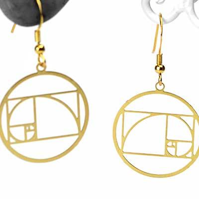 Fibonacci Spiral Dangle Earrings