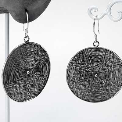 Silver Woven Disc Earrings