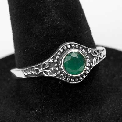 Silver and Green Quartz Ring